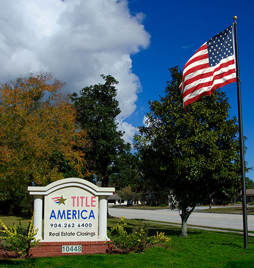 Title America Sign and US Flag